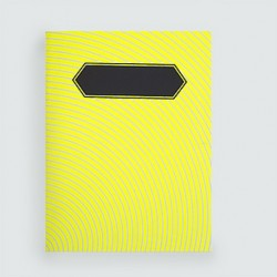 """L'écolier """"ondes jaunes fluo""""cahier dahu édition serigraphie yellow noir"""