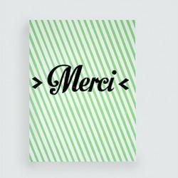 """LES PETITS MOTS """"Merci"""" carte dahu édition serigraphie vert noir"""