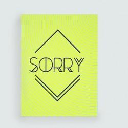 """LES PETITS MOTS """"SORRY"""" carte dahu edition serigraphie jaune fluo noir"""