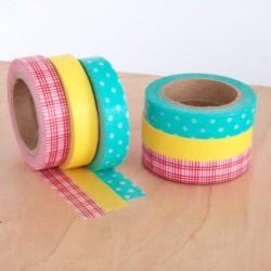 masking tape old slim washi tape vert pois  jaune rouge carreaux