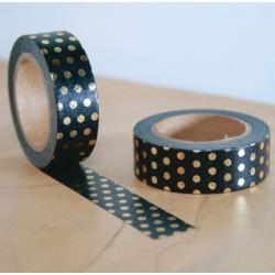 masking tape noir pois doré