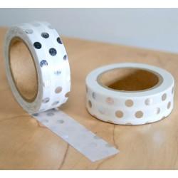 masking tape pois argent fond blanc