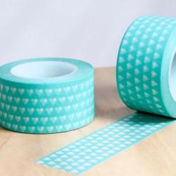 masking tape large cœur vert d'eau