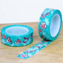 masking tape fleurs vert d'eau / dessin rouge