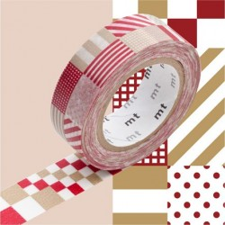 masking tape  Motif rayé carré mix red beige washi tape rouge