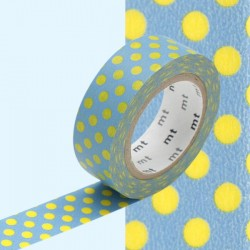 Motif pois jaunes fond bleu washi tape blue yellow dot