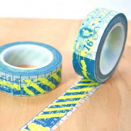 masking tape graphic fluo washi tape bleu shocking yellow