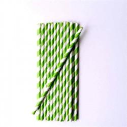 lot de 25 pailles en papier rayures vertes vintage ma jolie papeterie