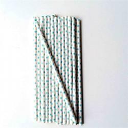 lot de 25 pailles en papier petits pois bleus -vintage ma jolie papeterie