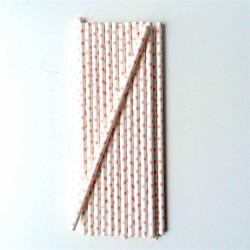 lot de 25 pailles en papier petits pois rose -vintage ma jolie papeterie