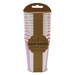 gobelets carton  rayé rose meri meri - majoliepapeterie