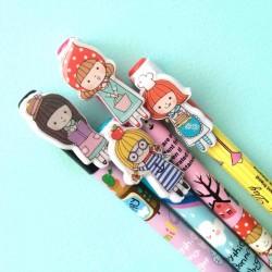 stylos fantaisie poupées kawaï stylos à bille encre bleu décoré poupée kawaï