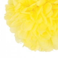 paper pompom , pompon en papier de soie jaune 35 cm