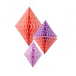 Décorations diamant rose et violet déco guirlande fête