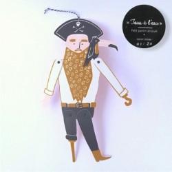"""pantin articulé """"Pirate"""" dahu edition serigraphie caramel noir"""