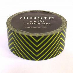 masking tape noir chevrons jaune fluo washi tape black strip yellow