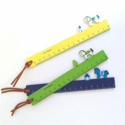 règle en bois peint 15 cm décor cheval kawaii wooden ruler colores