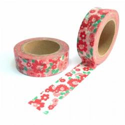 masking tape fleurs rouge et rose washi tape liberty pink red