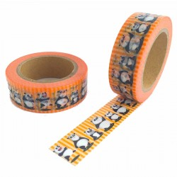 masking tape panda rayure orange washi tape orange strip