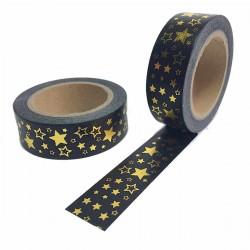 masking tape étoile doré fond noir washi tape black gold stars