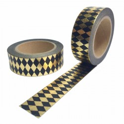 masking tape losange doré fond noir washi tape black gold rhombus