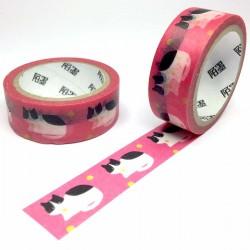 masking tape chat noir et blanc rose washi tape cat pink dot yelllow