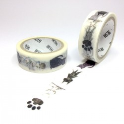 masking tape chat noir illustration washi tape black cat draw