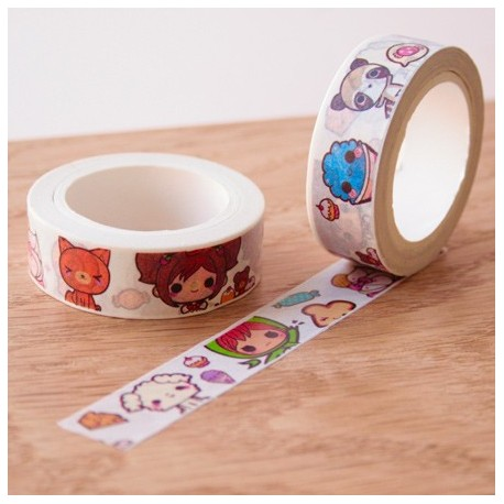 Masking tape Chibis washi tape personage kawaï