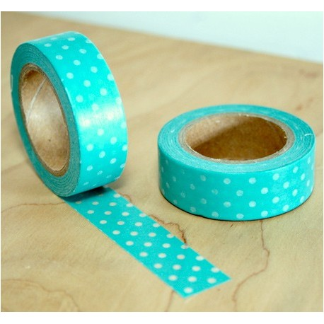 masking tape petits pois blanc fond vert washi tape mint withe dot