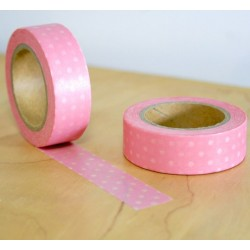 masking tape petits pois blanc fond rose washi tape pink withe dot