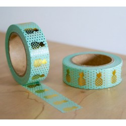 masking tape vert ananas dorés washi tape green pineapple gold