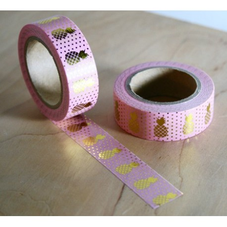 masking tape rose ananas dorés washi tape pink pineapple gold
