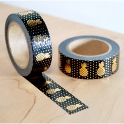 masking tape noir ananas dorés washi tape black pineapple gold