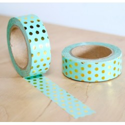 masking tape vert d'eau pois dorés washi tape light green dot gold