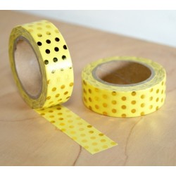 masking tape jaune pois dorés washi tape yellow dot gold