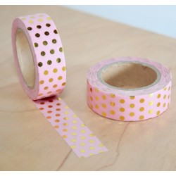 masking tape rose pois dorés washi tape pink dot gold
