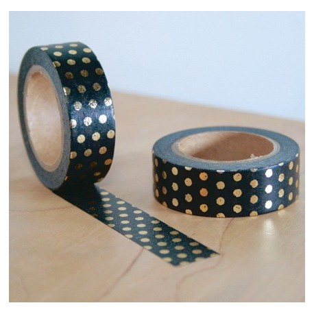 masking tape noir pois dorés washi tape black dot gold