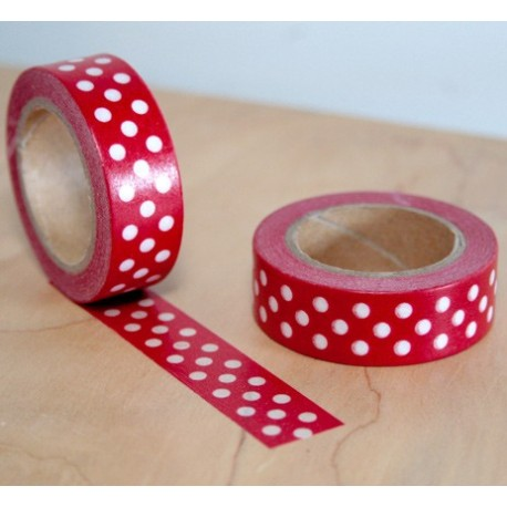 masking tape pois blanc fond rouge washitape red white dot