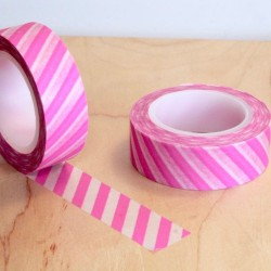masking tape rayure diago rose fluo