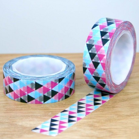 masking triangles noir bleu et rose washi tape blue pink