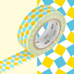 masking tape square green wash tape carreaux jaune bleu
