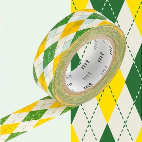 masking tape argyle GREEN YELLOW washi tape jacquard JAUNE VERT