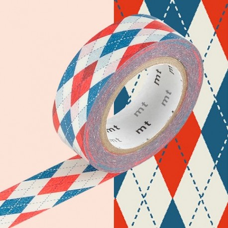 masking tape argyle red blue washi tape jacquard  bleu rouge