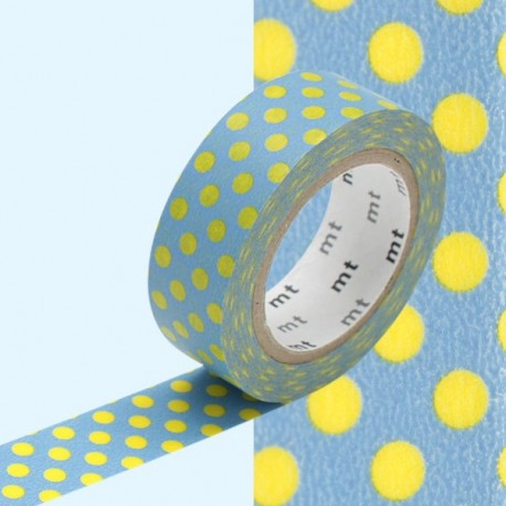 Motif pois jaunes fond bleu washi tape blue yellow dot