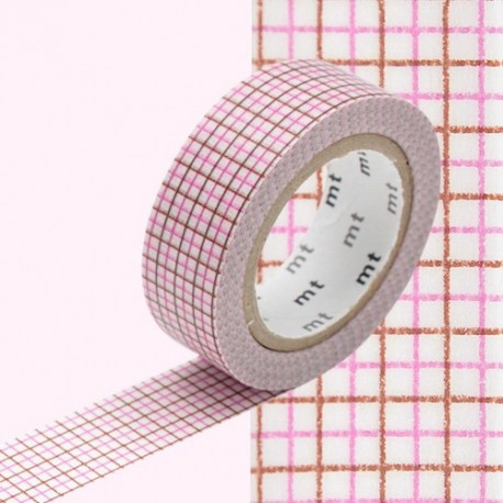 masking tape quadrillé rose marron
