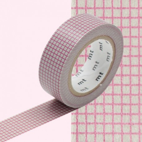 masking tape quadrillé rose sur fond gris washi tape hogan  pink  gray