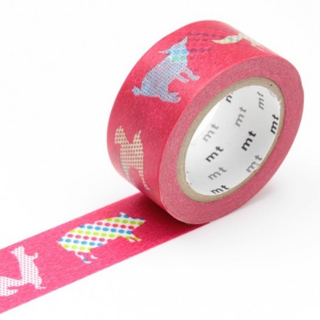 masking tape animal dot  washi tape animaux pois fond rouge