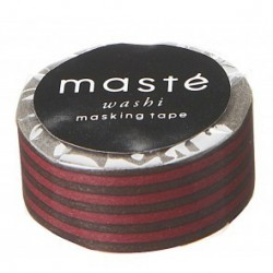 masking tape NOSTALGIC brown stripe washi tape marron rayé rouge