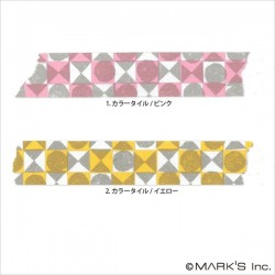 masking tape masté triangles et ronds washi tape rose & jaune