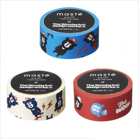 masking tape masté ours washi tape bear blue red withe